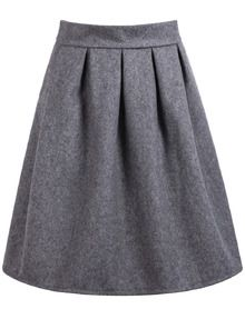 High Waist Wine Grey Skirt