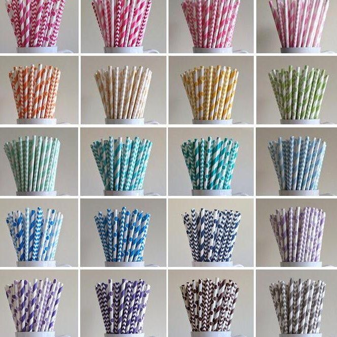 Paper Straws - 400 Mix and Match Variety Pack of Striped, Polka Dot, Chevron Paper Straws Birthday Wedding Baby Shower Bridal Mix Graduation by PuppyCatCrafts on Etsy https://www.etsy.com/listing/188889196/paper-straws-400-mix-and-match-variety