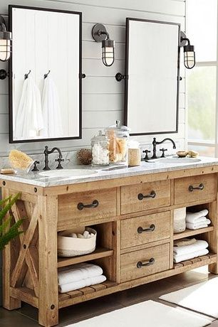 Rustic Master Bathroom with European Cabinets, Pottery barn kensington pivot rectangular mirror, Inset cabinets, Double sink