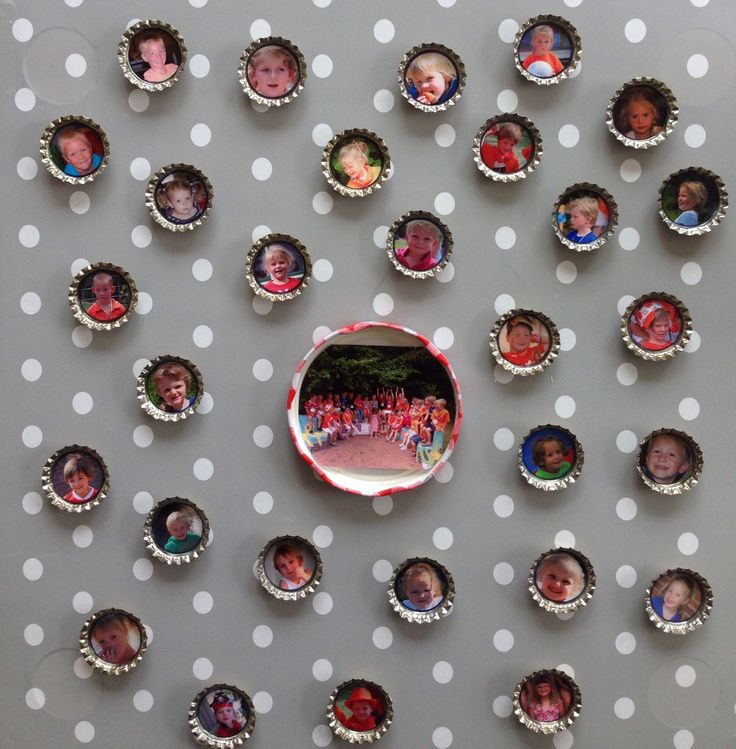 Magneetbord met foto-magneetjes. Leuk als afscheidscadeau voor juffen/meesters op school of dagverblijf.