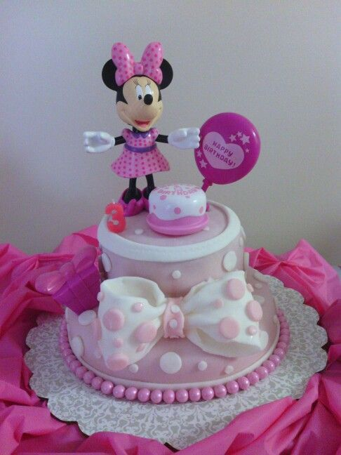 Minnie Mouse Birthday Cake The Pink Pearls Are Sixlets From Party City And White Fondant Walmart That I Used