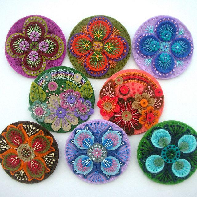 DSCN0864 by APPLIQUE-designedbyjane, via Flickr: Felt Medallions, Wool Crafts, Felt Crafts, Embroidered Felt, Felt Fun, Amazing Embroidered, Felt Brooches, Photos Shared, Felt Creations