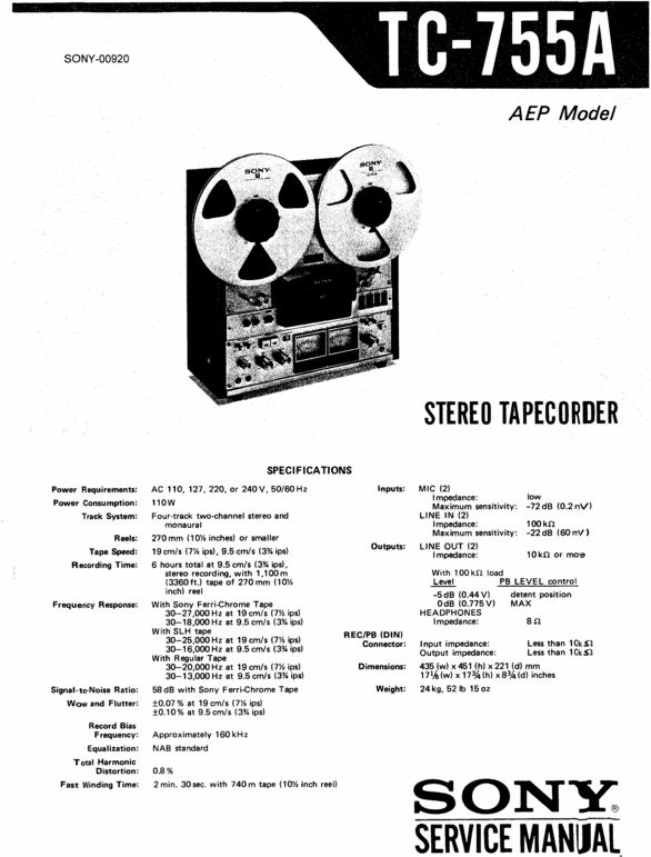 Sony TC-755-A reel to reel tape recorder Service Manual 100 per cent satisfaction guaranteed  100 DOWNLOAD