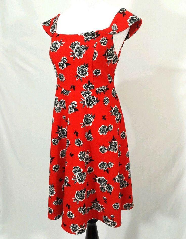 Torrid Floral Textured Off Shoulder Dress Sz Medium/Large 10 Red Skater Stretch #Torrid #SkaterDress #AnyOccasion