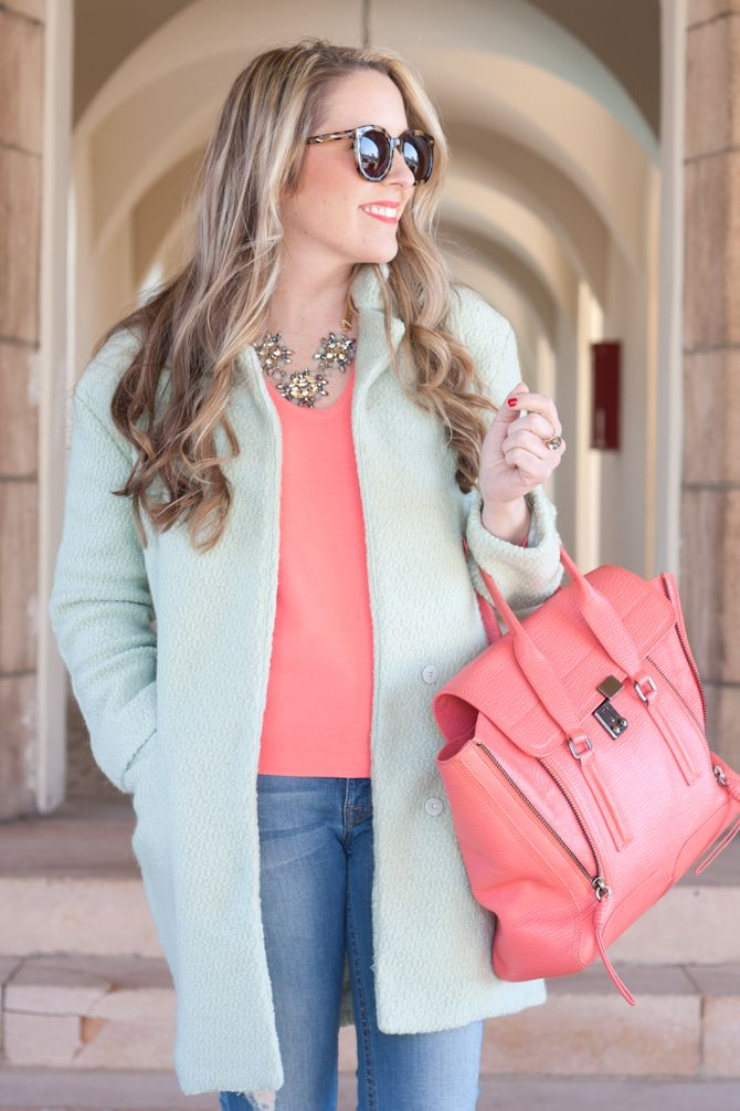Mint jacket and Coral 3.1 Phillip Lim Pashli