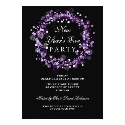 New Years Eve Party Festive Wreath Purple Card - wedding invitations cards custom invitation card design marriage party