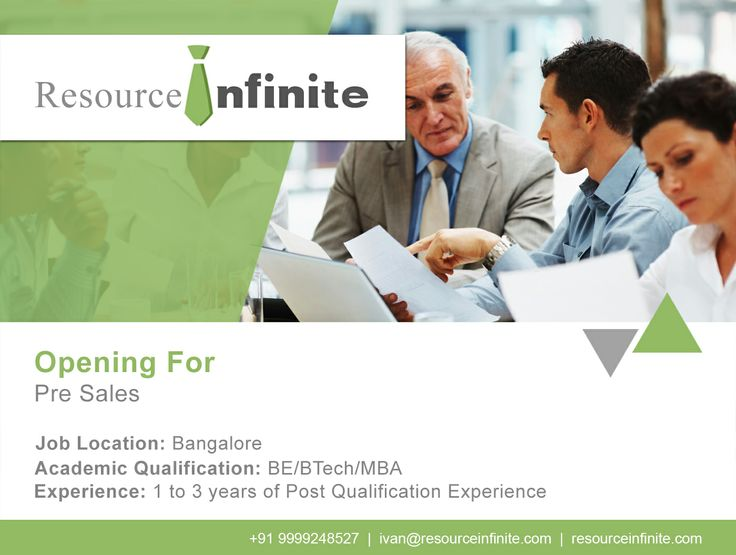 #resourceinfinite #jobs #news #presales  An #IT start-up #company in the #MobilePayment domain is offering a post in Pre Sales. If you have a flair for research and social interaction, besides having a B.E, B.Tech or #MBA degree with 1-3 years of professional experience, then apply at http://resourceinfinite.com/job_detail.php?job_id=104  For assistance, contact us at +91 9999248527.
