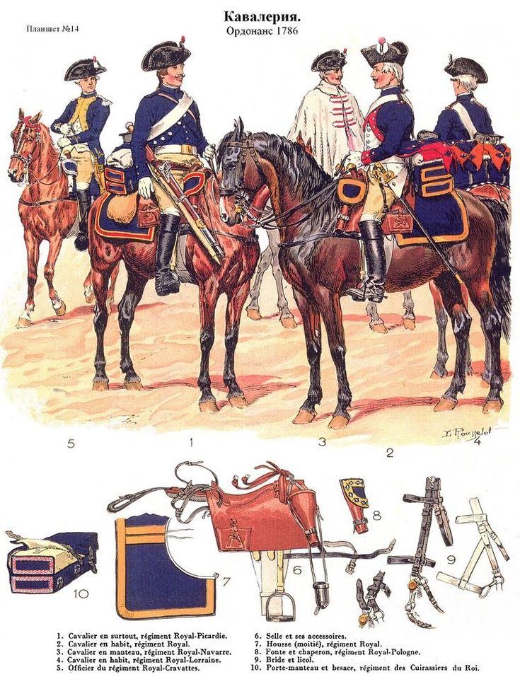 SOLDIERS- Rousselot: 1786- France: (#14) French Cavalry, by Lucien Rousselot.