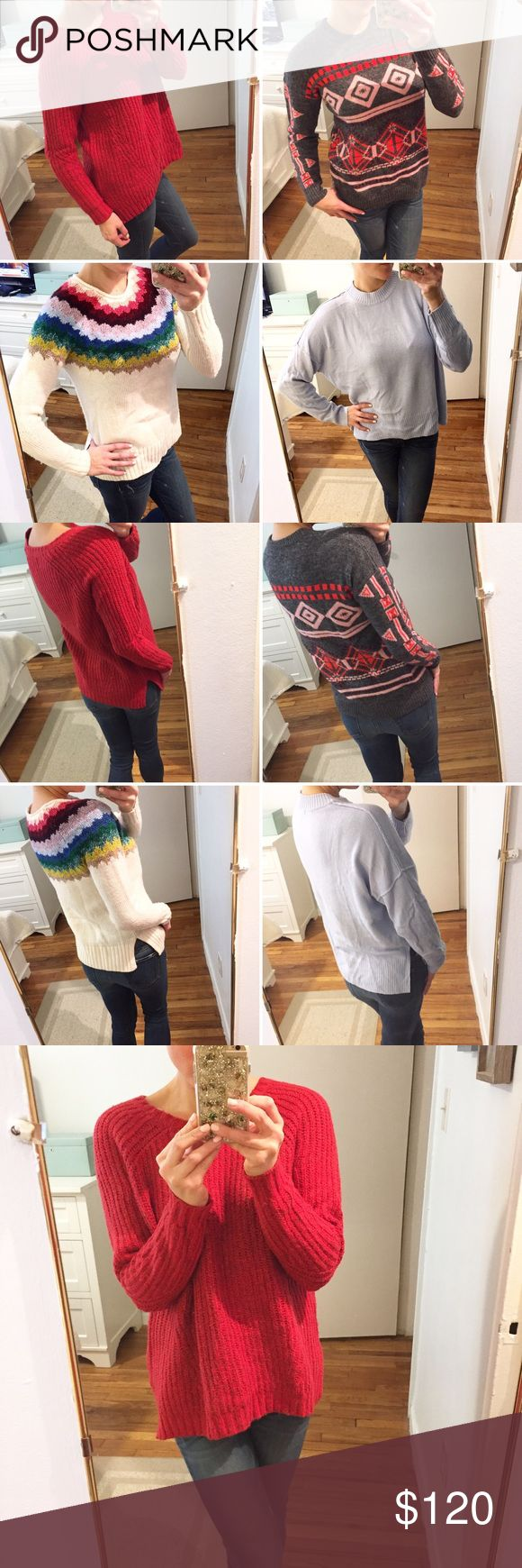 Sweater Bundle //J. Crew • American Eagle • H&M 🚚Moving SALE🚚 Price is for the bundle of 4 sweaters! All have been worn only once on a ski trip last winter- freshly dry cleaned. All Excellent Condition! No Flaws!   •Red Sweater- American Eagle, size Medium •Dark Grey- J. Crew, size Small •Cream with multi colors- American Eagle, size Small •Light Blue- H&M, size Small   ✨Pet & Smoke Free Home!✨Same or Next Day Shipping!✨ 🚫No Lowball Offers Please. Price is very fair considering condition…