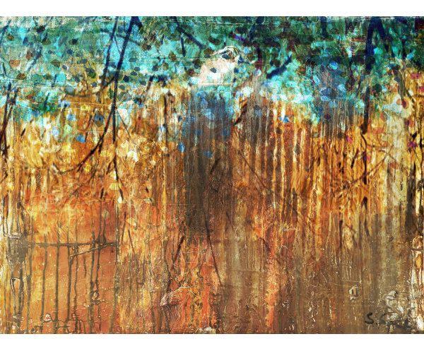 Digitale print op canvas Turquoise tree