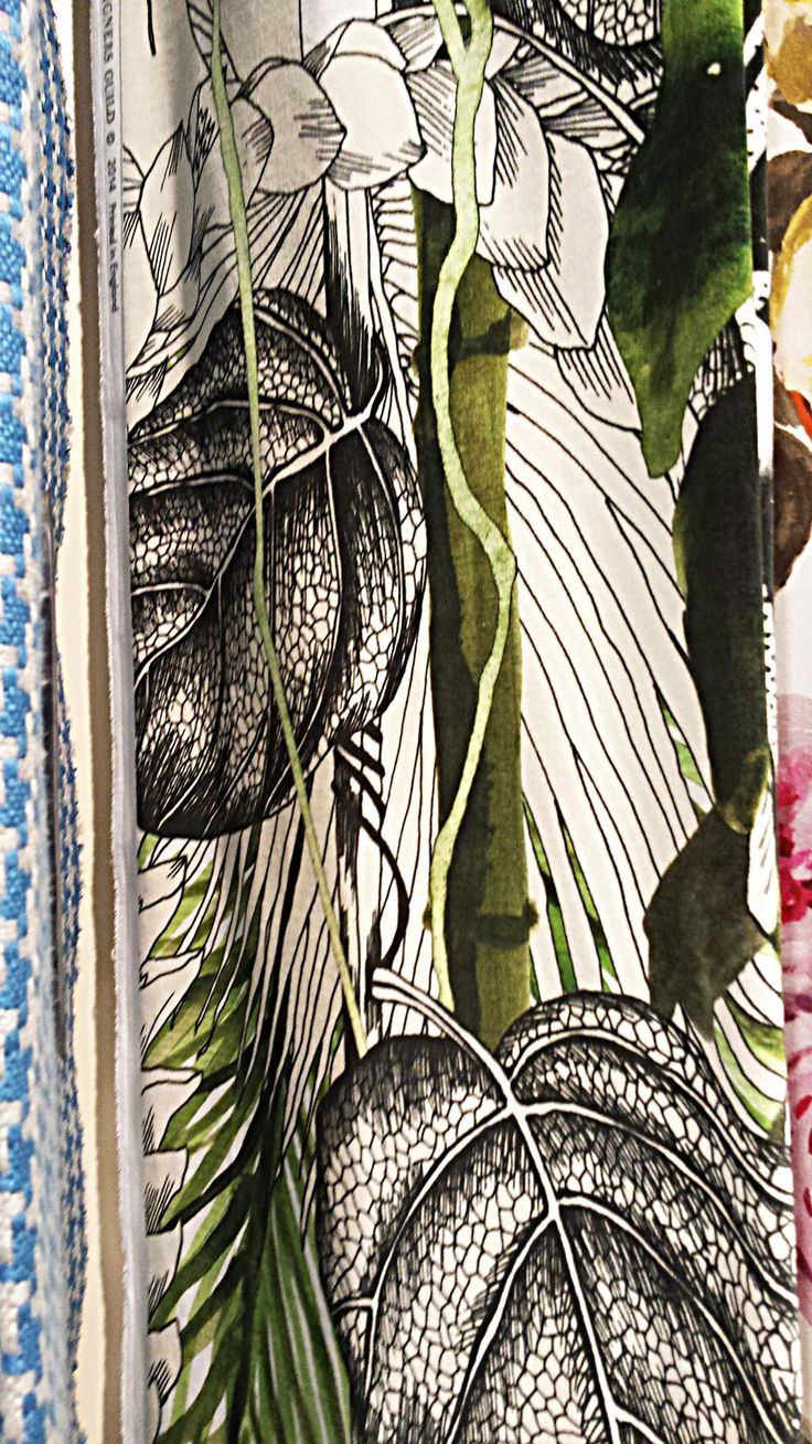Beautiful illustrated and painted floral curtain by John Lewis