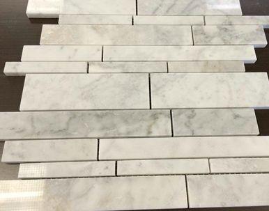 White Carrara Tile Linear - Marble Tile Backsplash, Discount Glass Tile Store