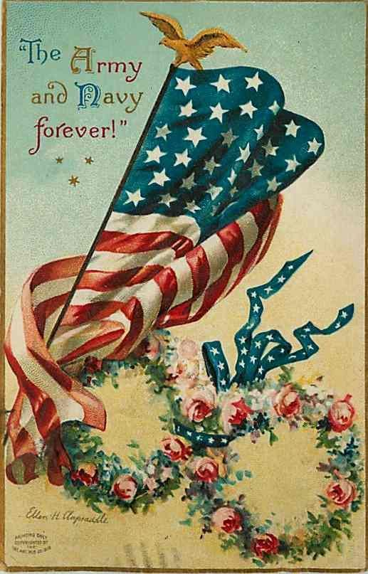 July 4th Clapsaddle Artist Signed 1909 American Flag Army Navy Forever | #myfreedommyfamily
