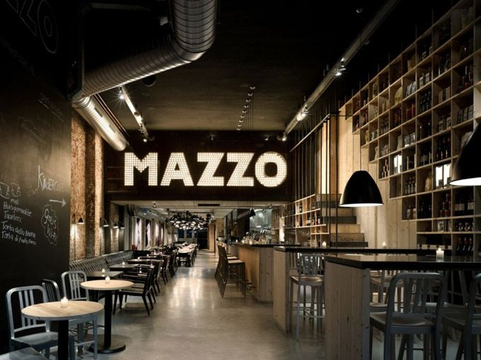 The bar/restaurant Mazzo in Amsterdam, the Netherlands, has recently  received a face-lift by the firm of Concrete Architectural Associates.