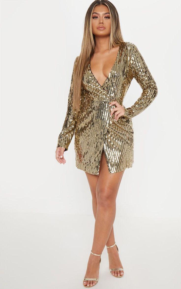 Gold Sequin Plunge Wrap Bodycon Dress 13