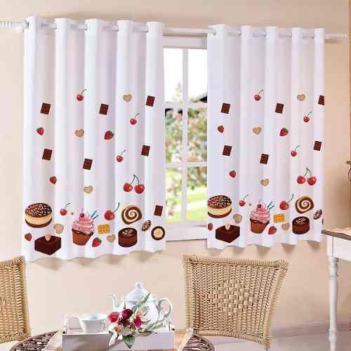 cortina corta luz blackout de cozinha p/ varão simples 2m
