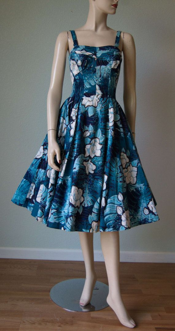 1950s Shaheen Amazing Cotton Hawaiian Dress // by KittyGirlVintage