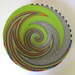 African Zulu woven telephone wire bowl – Large shallow bowl – Green & Multicolour