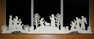 Another simple, beautiful silhouette! Kind of a 'reverse' silhouette, because it's on the window; it looks white on black.