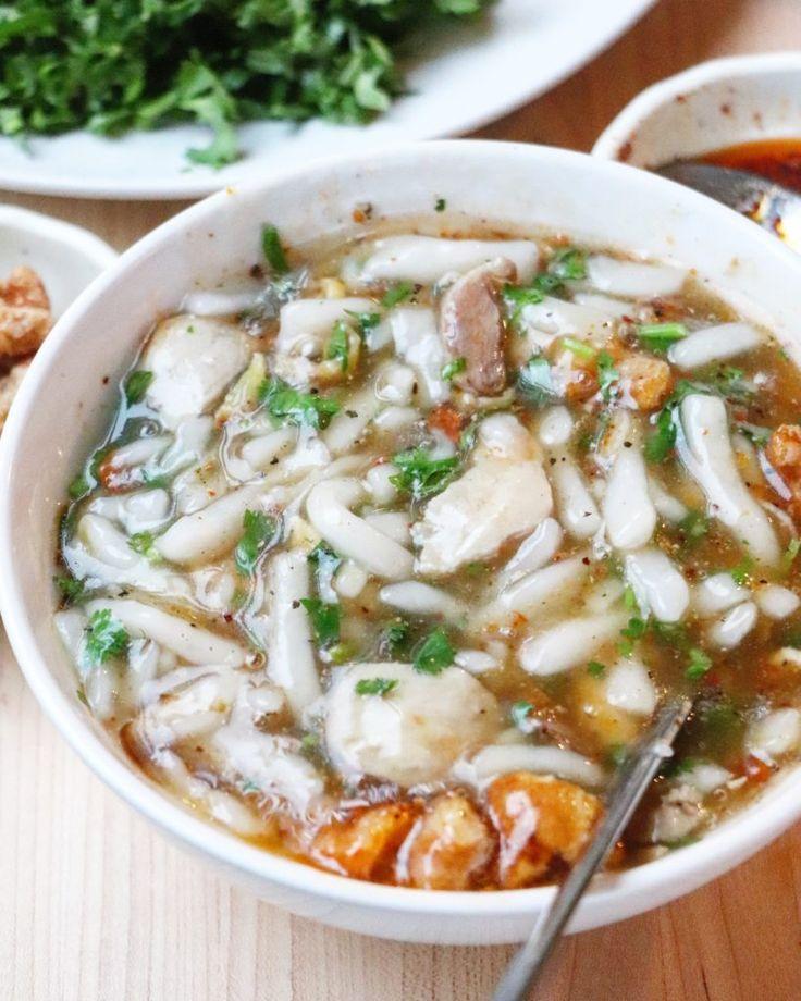 qhaub piaj (thick chicken noodle soup)   recipe   noodles