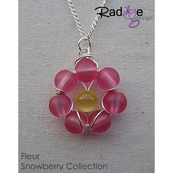 $42 SBC Fleur Pendant silver with glass beads by radgedesign on Handmade Australia