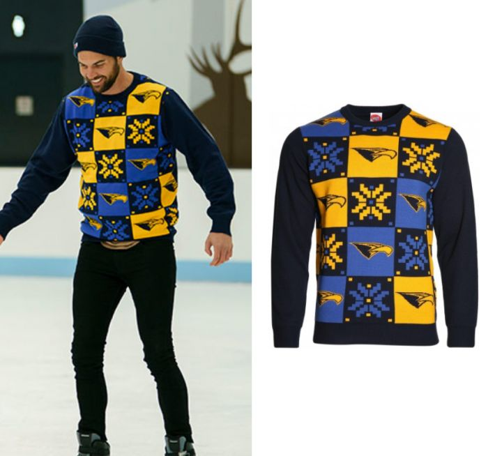 Blake Colman wears this grid printed West Coast Eagles AFL knitted sweater in this episode of The Bachelorette Australia on Thursday the 19th of October, 2017. It is the West Coast Eagles Men's AFL Ugly Sweater.