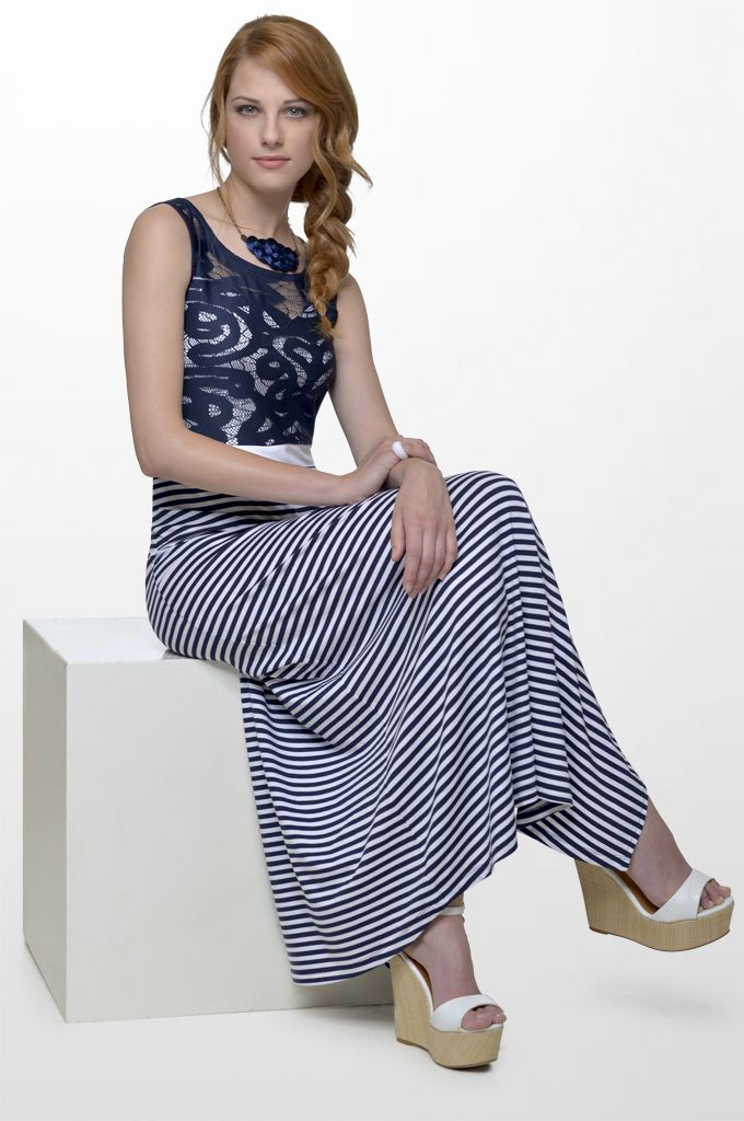 Sarah Lawrence - maxi striped dress with lace.