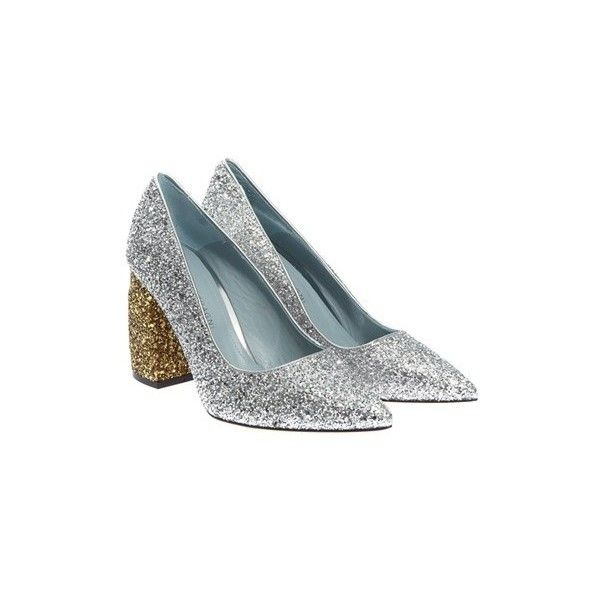 Chiara Ferragni Glittered Pumps ($385) ❤ liked on Polyvore featuring shoes, pumps, glitter high heel pumps, gold and silver shoes, chiara ferragni shoes, glitter shoes and leather sole shoes