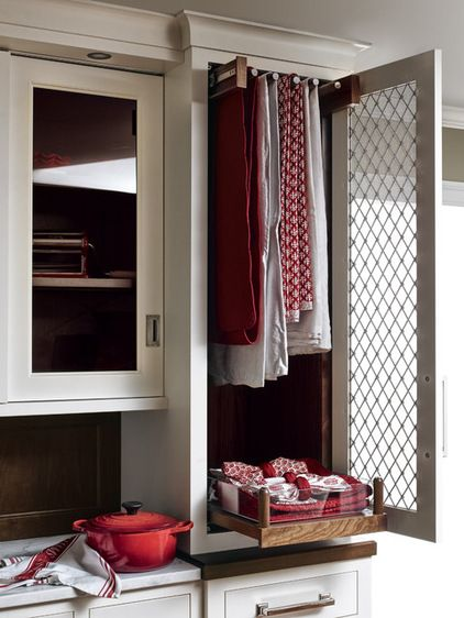 Linen Closet in Kitchen with pull-out hanging rack - Eclectic Kitchen by Heartwood Kitchens