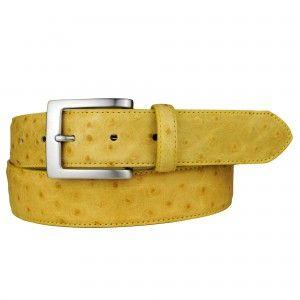 Cintura gialla in vera pelle stampa struzzo