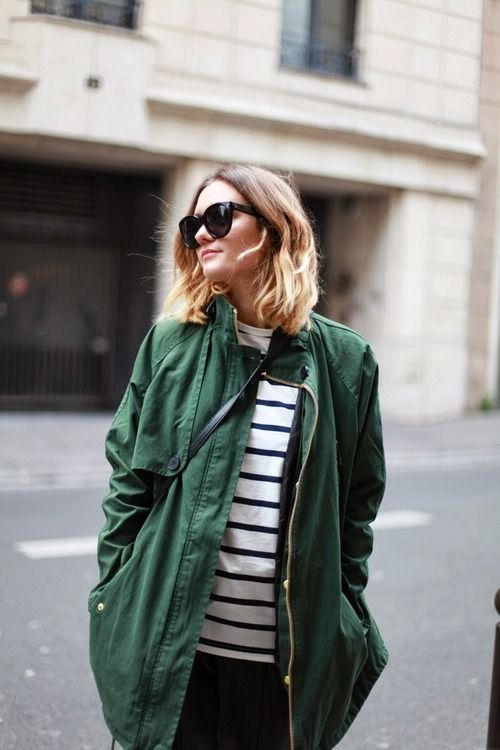 stripe + army jacket.