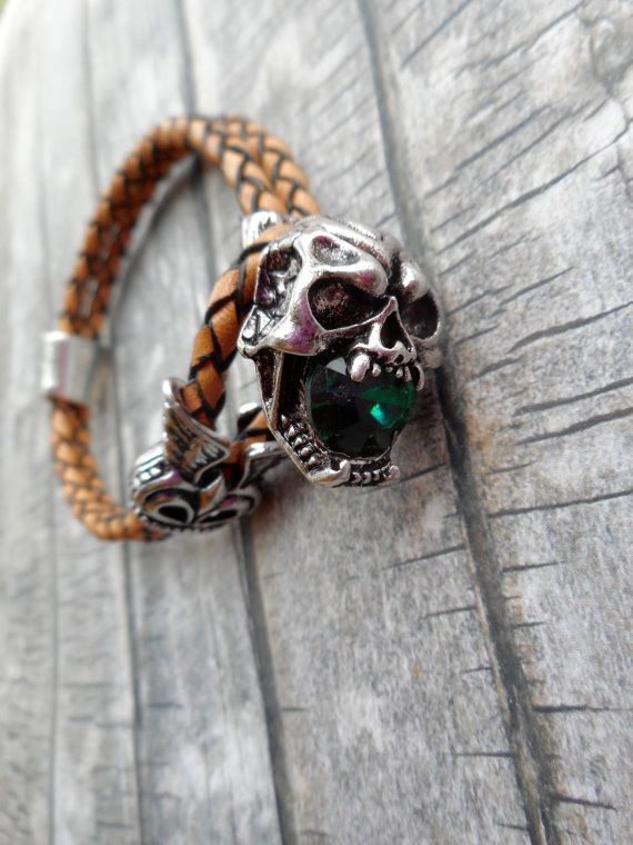Brown braided leather bracelet with skull buckle clasp. For men and tough ladies  by Liesbeth Visscher  JHFWBeadsAndFindings on #Etsy