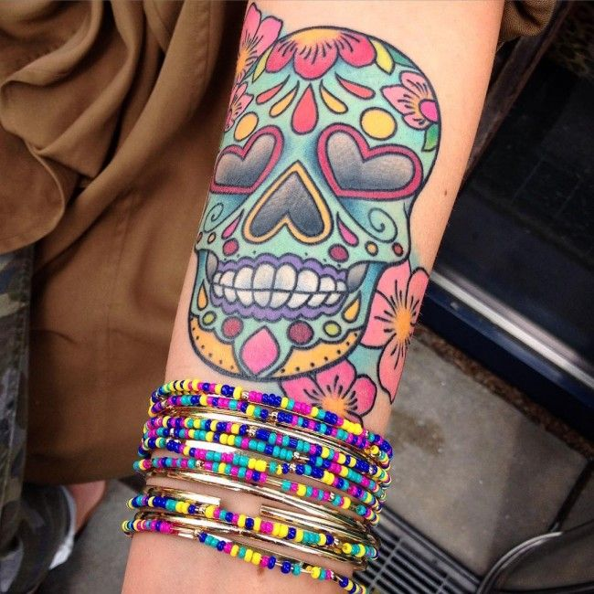 Exactly the kind of sugar skull I want, and on my forearm!