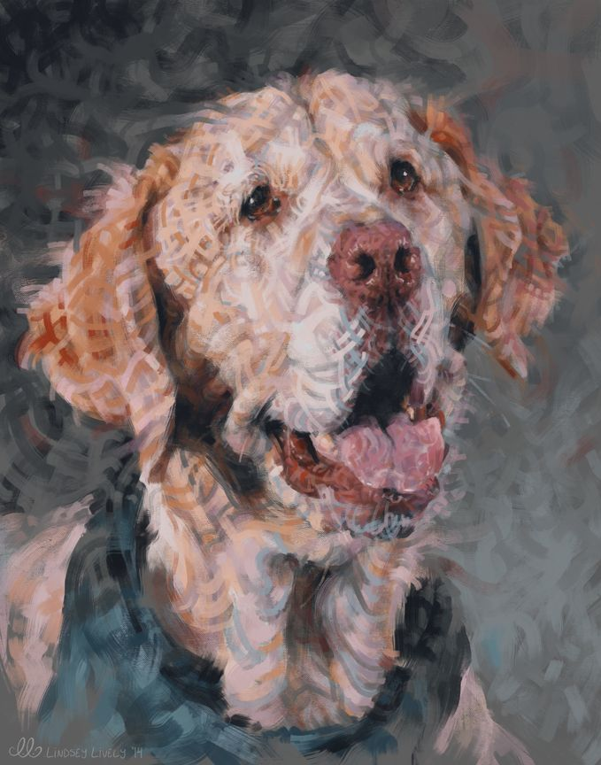 """Pet Portrait commission Lindsey did of a lab named """"Tritan.""""  Check out this video showing the process of it being painting:  http://youtu.be/Ffo3VXVGqAw  To see more artwork check out my Facebook page: www.facebook.com/lindseylivelyart"""