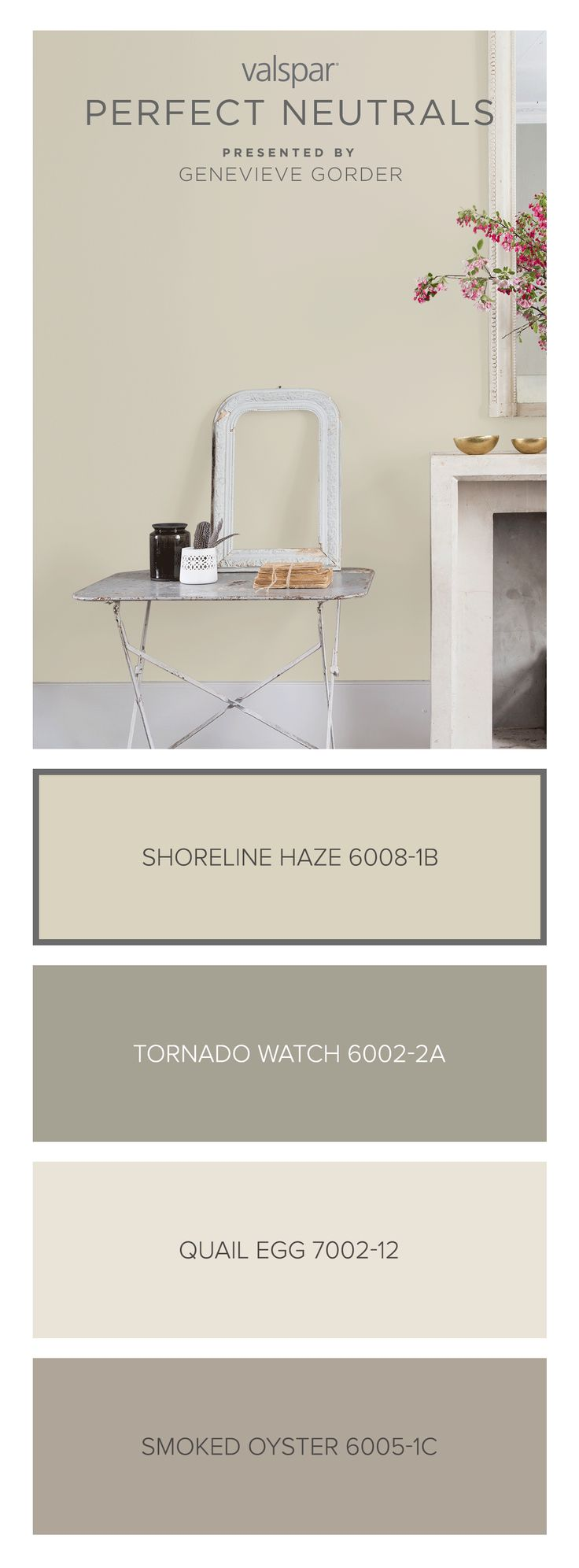 Here's a tip from Genevieve Gorder: Shoreline Haze 6008-1B is a light beige that can play nicely with everyone. Find more inspiration from our Valspar Perfect Neutrals Pinterest board: https://www.pinterest.com/valsparpaint/valspar-perfect-neutrals/ Lowe's: Shoreline Haze 6008-1B ACE: Quill VR101D Indepedent: Quill V094-1