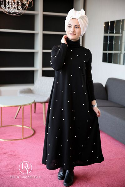 ROBE TRICOT PEARLY BLACK