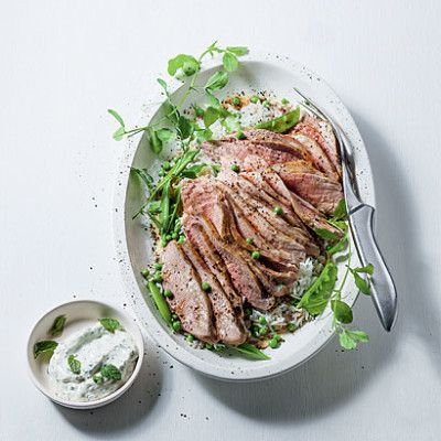Grilled leg of lamb with minted yoghurt and fresh pea rice