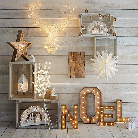 Buy John Lewis Noel Christmas Light Sign, Soft White Online at johnlewis.com