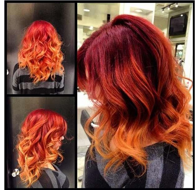 Red to orange ombré. Amazing right?! My sister did this. Contact her at Carlton of Westminter. Adri :) (so proud)