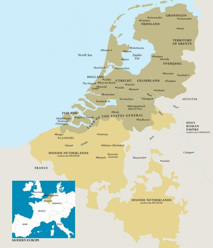Map showing the provinces of The Dutch Republic and the Spanish Netherlands. A smaller map shown adjacent to this depicts modern Europe.