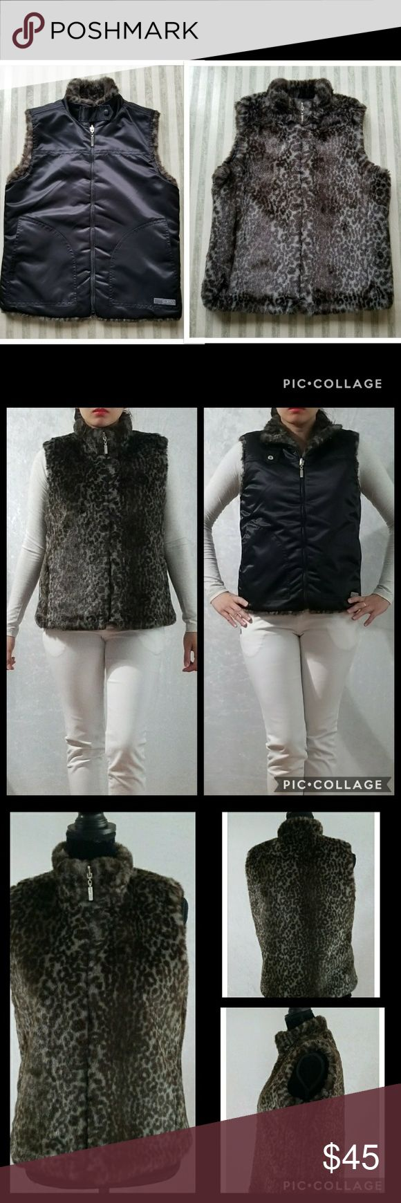 EUC GUESS Faux-fur Reversible Vest Pre-loved. This faux-fur animal print vest is in EXCELLENT Used CONDITION and is double sided perfection. TWO VEST IN ONE! One side is amazingly soft faux-fur and the other side is a smooth sleek black. The collar snaps, zipper closure abd convenient side pockets make this vest a total package. Non-smoking home. Perfect for fall and winter season. Feel free to ask. Open for reasonable offers. Guess Jackets & Coats Vests