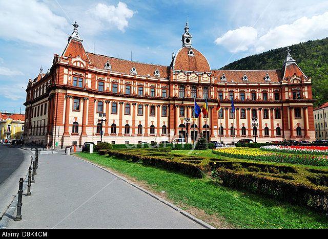 Brasov administration building, neo-baroque architecture. Transylvania, Romania.