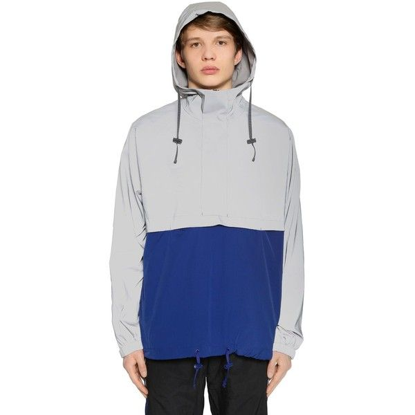 Adidas Originals Men Eqt Reflective Windbreaker Jacket ($270) ❤ liked on Polyvore featuring men's fashion, men's clothing, men's activewear, men's activewear jackets and silver