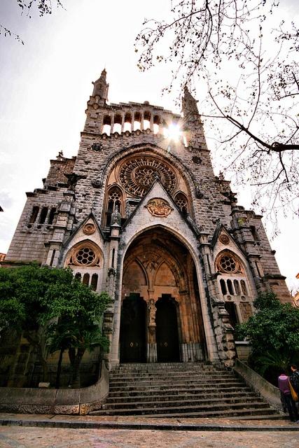 Iglesia de Soller. The church in the main square in Soller in Mallorca
