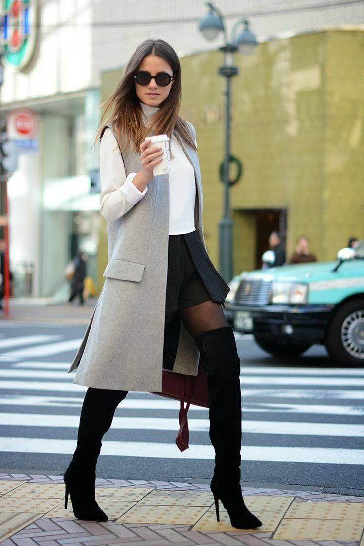 sleeveless blazer + otk boots + stockings + white blouse + black skirt