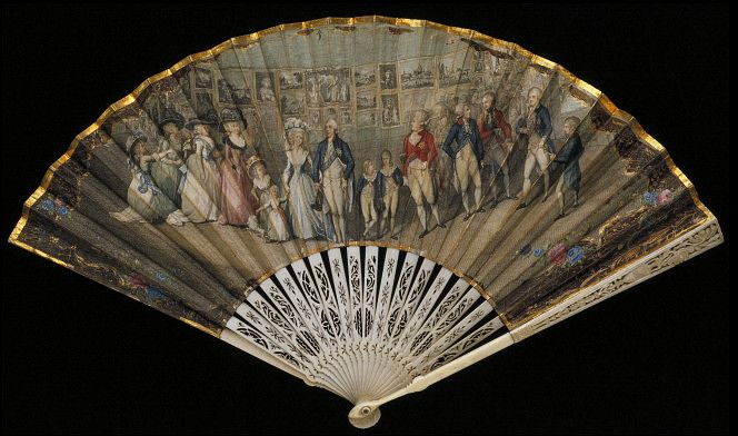 Fan, 1790, by Antonio Poggi. V&A's description: George III (reigned 1760-1820) recognised the importance of creating a positive image for the Royal Family. He actively encouraged painters to record his public appearances with the queen and their children. This fan is based on a painting by Johann Heinrich Ramberg and depicts the King and Royal Family attending the Royal Academy Exhibition.