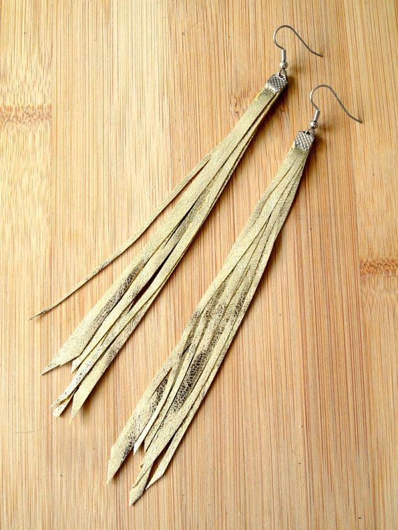 Long Gold Leather Fringe Earrings