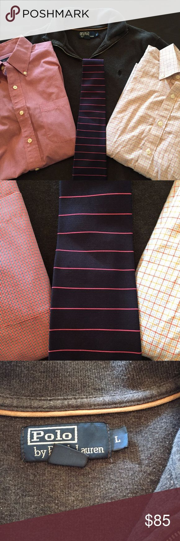 BUNDLED - Brooks Brothers Tie, Shirt, Polo Sweater This bundle is in great condition!  It includes a Polo quarter zip (Large), a button down Brooks Brothers (Medium), a Brooks Brothers tie, and a Southern Pines button down (Medium) Brooks Brothers Shirts Casual Button Down Shirts