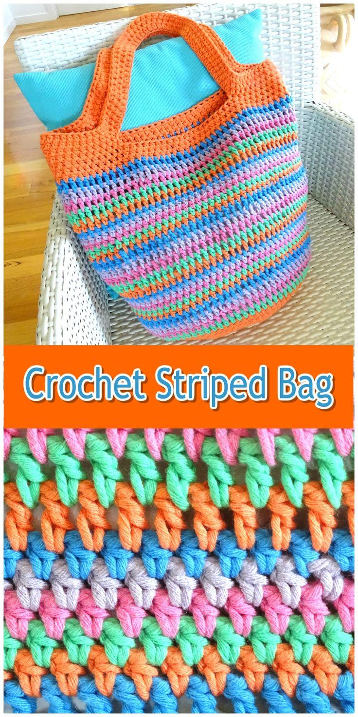 Crochet Bag | Large Shoulder Tote Bag | Boho Beach Bag | Handmade Womens Striped Handbag | Womens Ladies Accessories