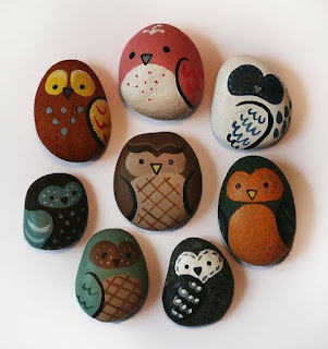 painted rocks...oh, Ava...to add to your one owl rock from the Squeegie at the hippie fest!